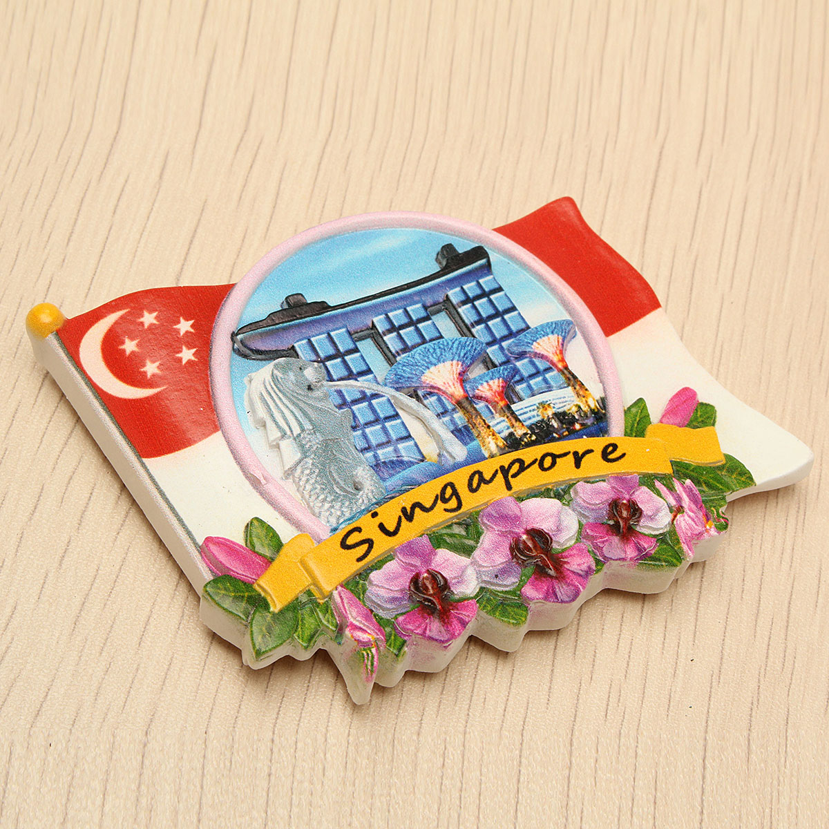 Tourist Souvenir Favorite Travel Resin 3D Fridge Magnet Colorful-Singapore - Photo: 2