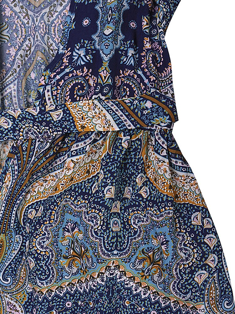 Bohemiian Floral Print Long Sleeve V-Neck Belt Tunic Women Dress