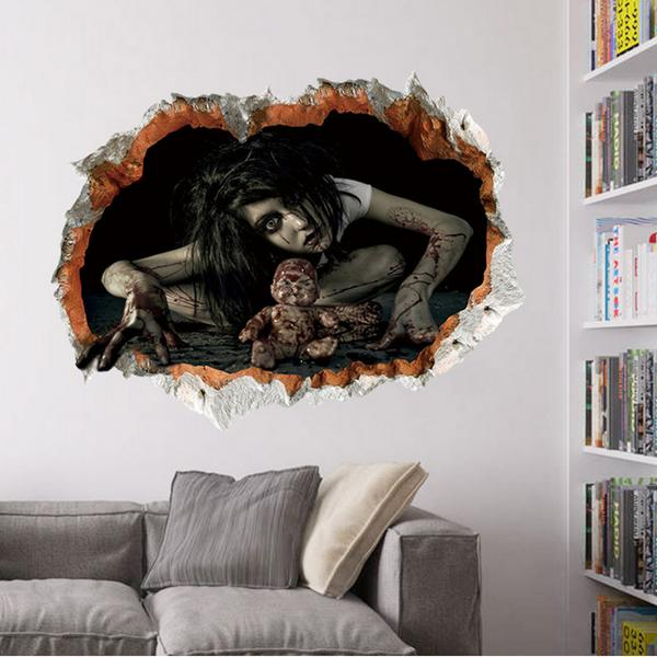 Halloween 3D Sticker Bedroom Living Room Haunted House Decor Wall Stickers  Ghost Through The Wall Part 80