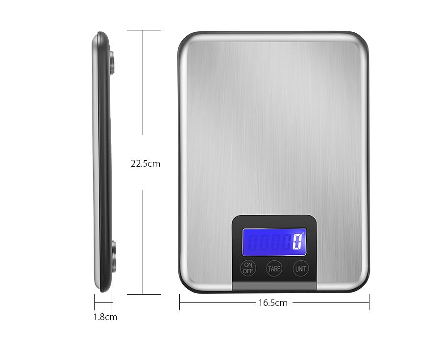 KCASA KC-MT360 5000g / 1g Escala de cozinha digital Multi-unidade Grande tela HD Balance eletrônico pesa