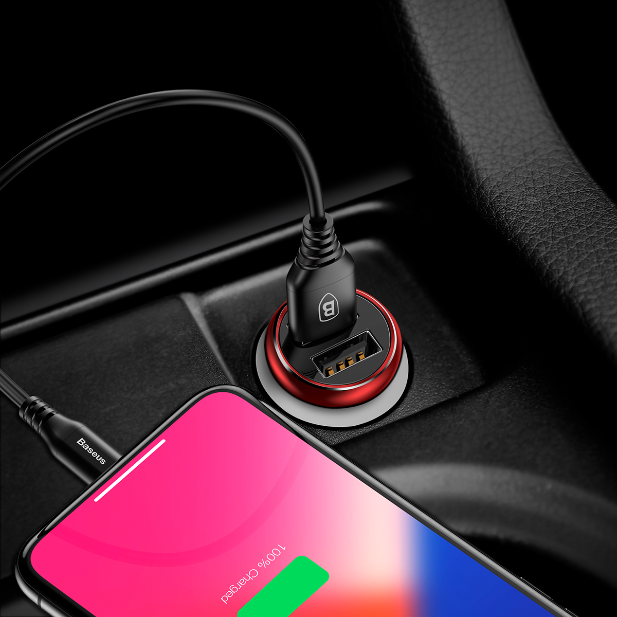 Baseus 4.8A Dual USB Ports Fast Car Charger For iPhone X ...