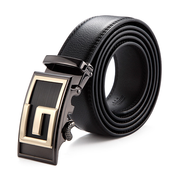 120CM Men Second Floor Leather Stainless Steel Automatic Lock Buckle Belt