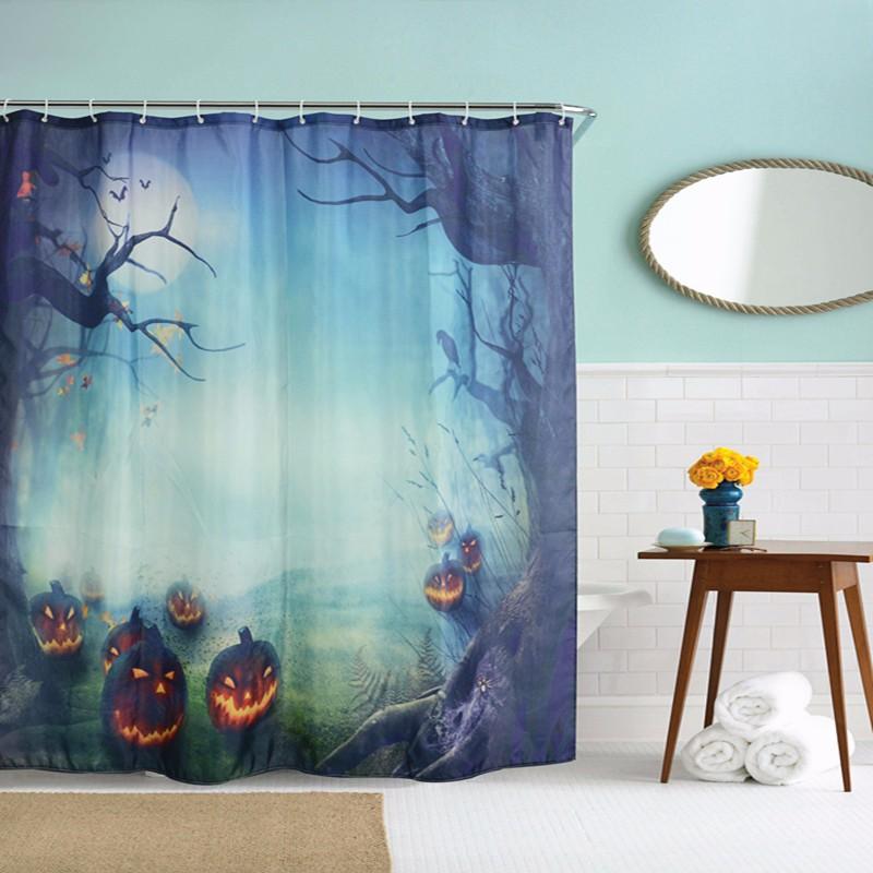 180x180cm Halloween Pumpkin Monster Polyester Shower