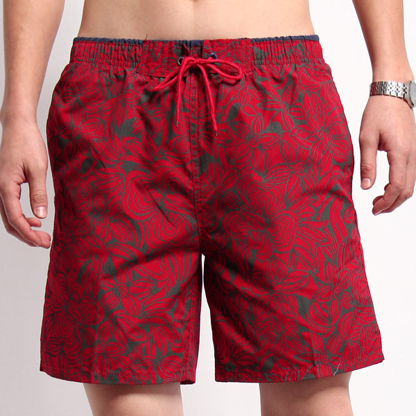 Summer Quick Drying Sport Shorts Mens Beach Knee Length Pants Casual Red Printing Shorts