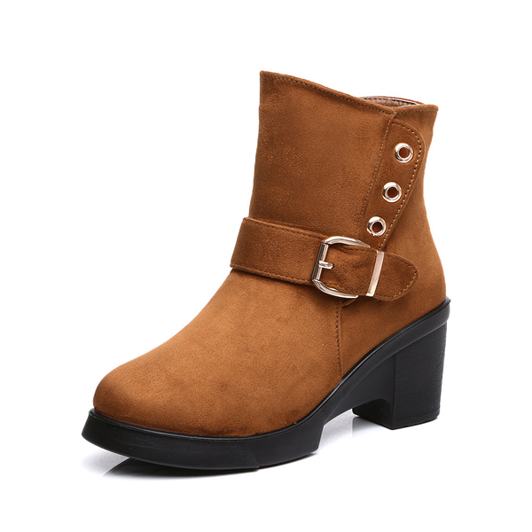 Soft Sole Wool Lining Side Zipper Round Toe Short Ankle Boots