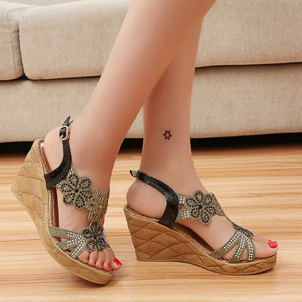 Women Summer Outdoor Casual Lace Up Heeled Wedge Sandals Fashion Comfortable Sandals Shoes