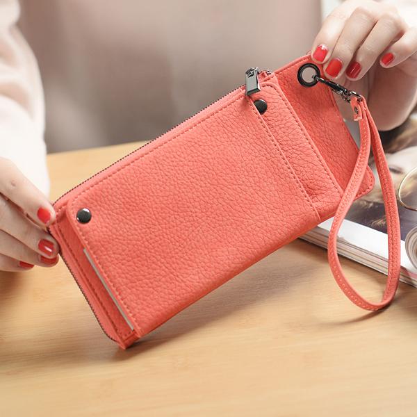 Woman PU Card Wallet Phone Wallet 13 Card Slots Large Capacity Wristlet Wallet Purse