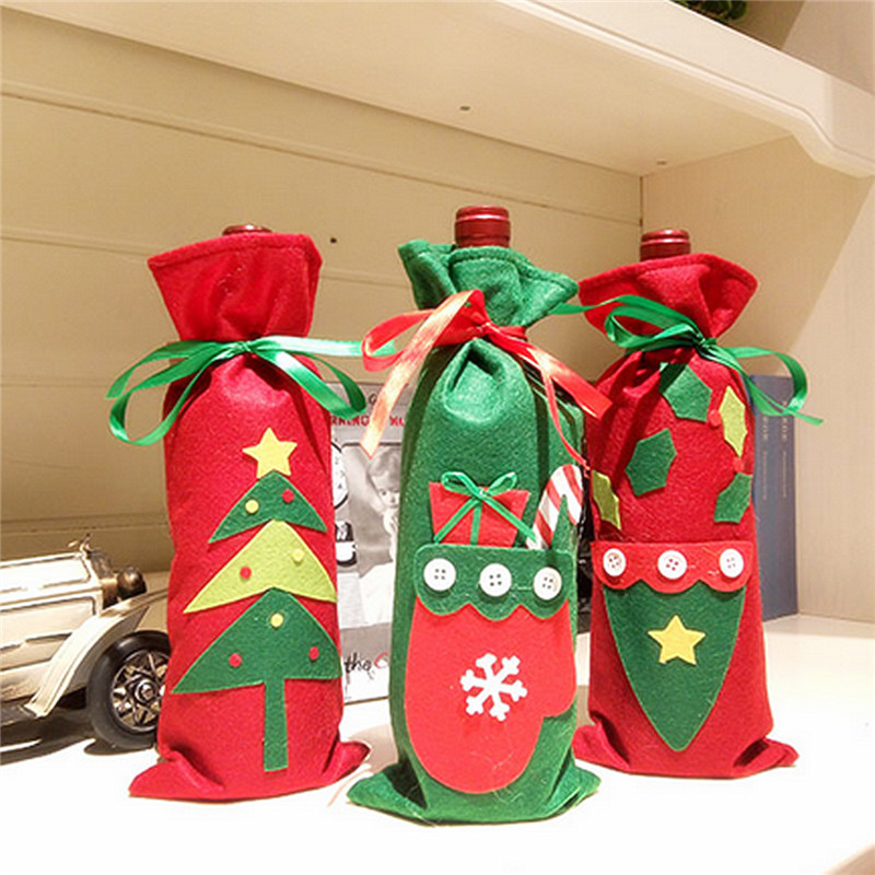 Christmas Champagne Wine Bottle Cover Bag Xmas Party Ornament Dinner Table Decor - Photo: 2