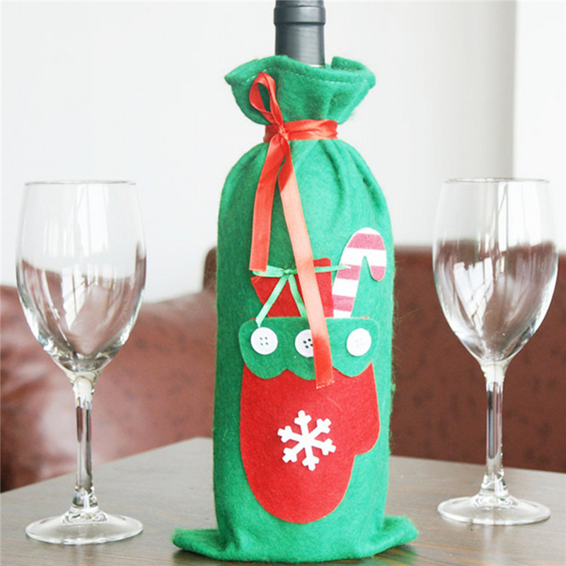 Christmas Champagne Wine Bottle Cover Bag Xmas Party Ornament Dinner Table Decor - Photo: 5