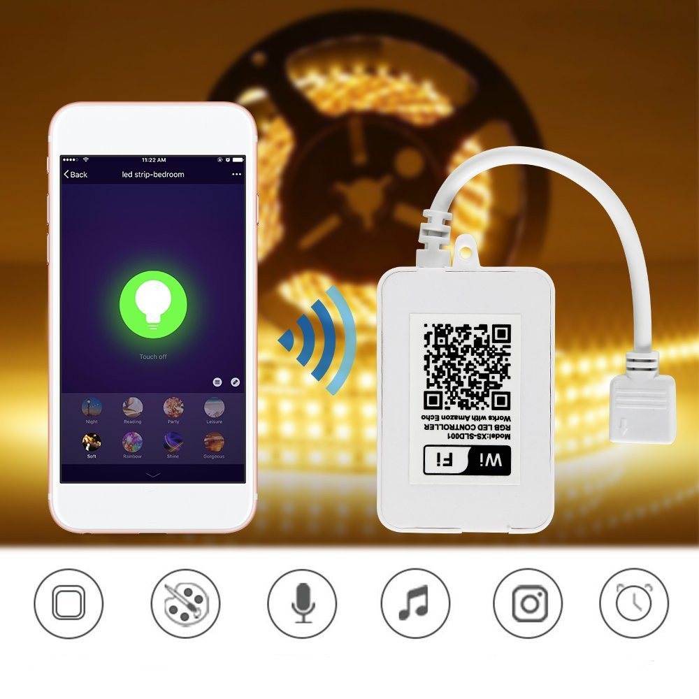 LUSTREON DC12 24V 60W 5 Pin WIFI Smart Controller Works With Amazon Alexa Echo for RGBW RGBW LED