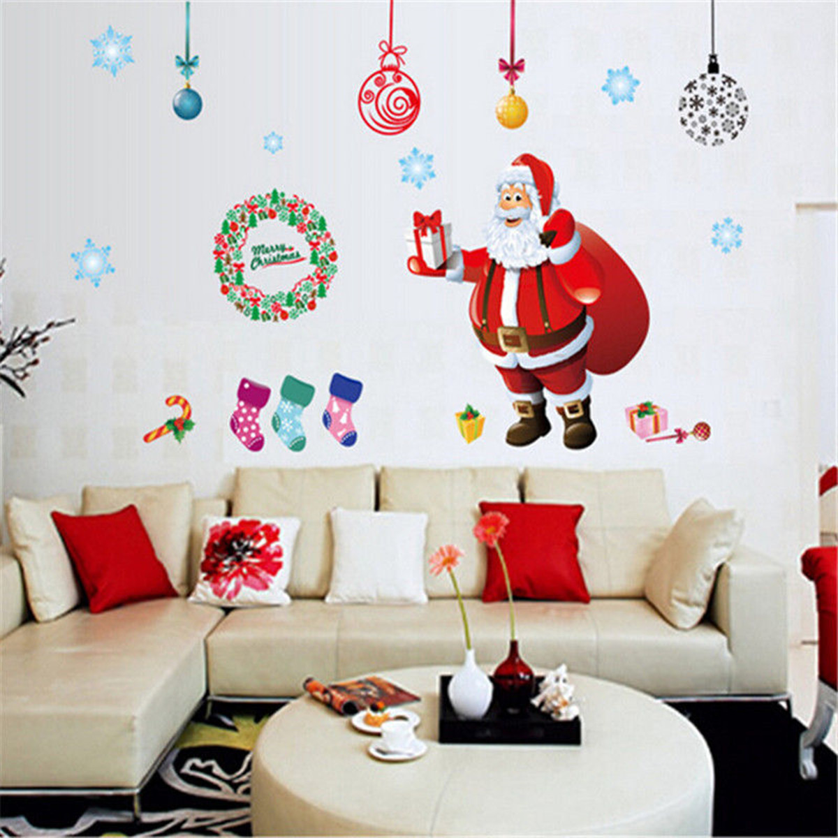 Christmas tree wall sticker santa claus gift wall art window home christmas tree wall sticker santa claus gift wall art window home decoration amipublicfo Images