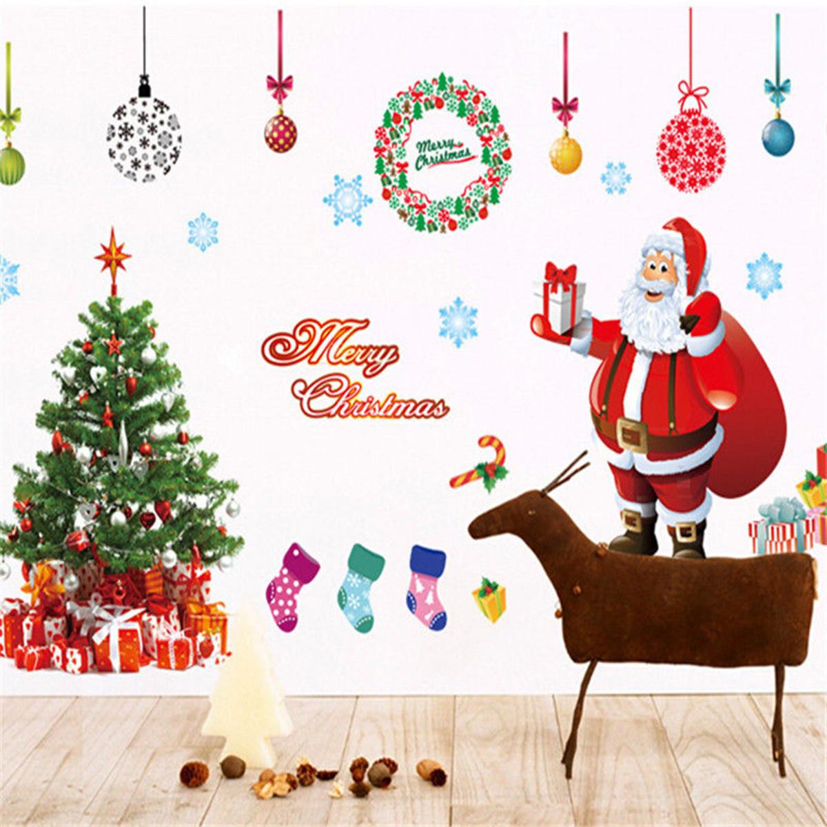 Christmas Tree Wall Sticker Santa Claus Gift Wall Art Window Home