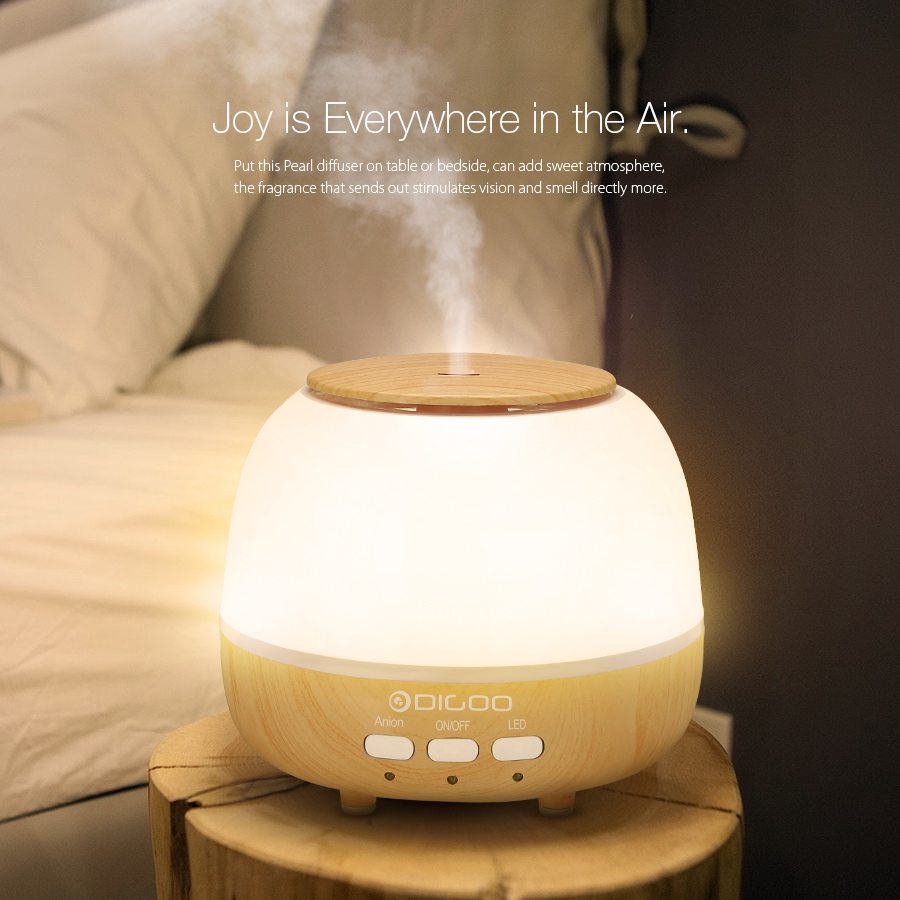 Digoo DG-HM1 Pearl Wood Grain Essential Oil Aroma Diffuser Humidifier Anion Air Purifier Color Changing LED
