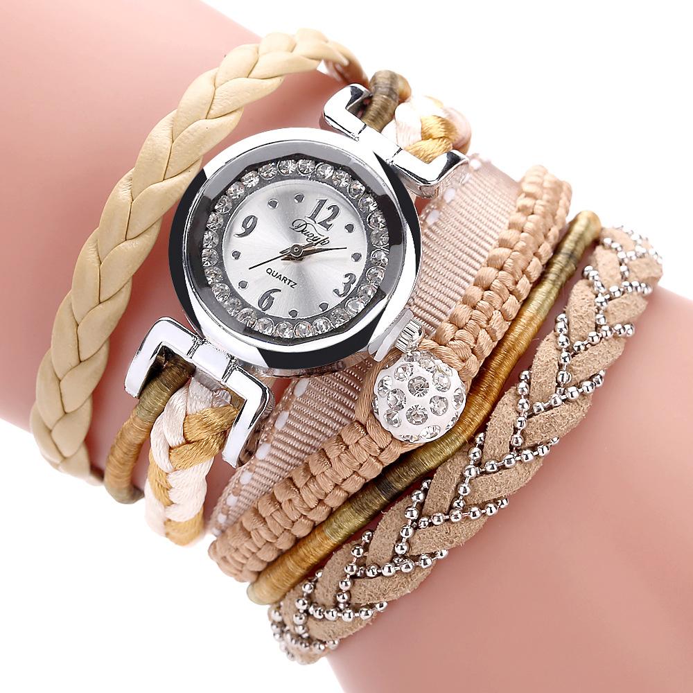 duoya dy080 cuir fin la mode bande montre bracelet en dentelle montre quartz tress chez. Black Bedroom Furniture Sets. Home Design Ideas