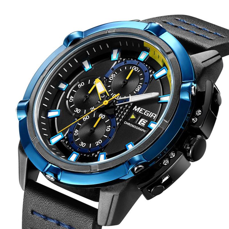 Relojdepulseradecuarzode MEGIR hombres reloj deportivo creativo cronógrafo luminoso de cuarzo masculino