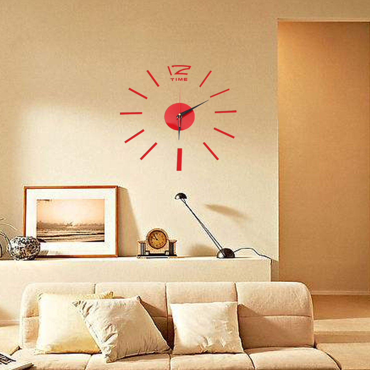 Other gadgets 3d diy acrylic mirror sticker wall clock for Modern living room gadgets