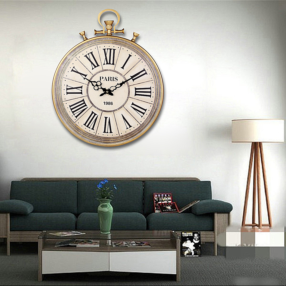 living room clocks large vintage pocket style numerals wall 10229