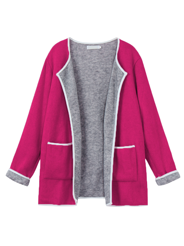 Casual Women Long Sleeve Color Contrast Pocket Slim Knit Cardigan