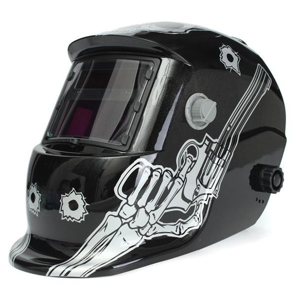 Skull With Gun Solar Welder Mask Helmet Electrowelding Auto Darkening Welding TIG MIG Welder Lens Mask