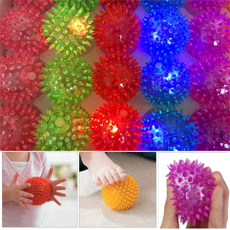 5PCS 6cm Stress Reliever Ball Flashing Light Spiky Massage Ball Stress Eases Tension Therapy - Photo: 1