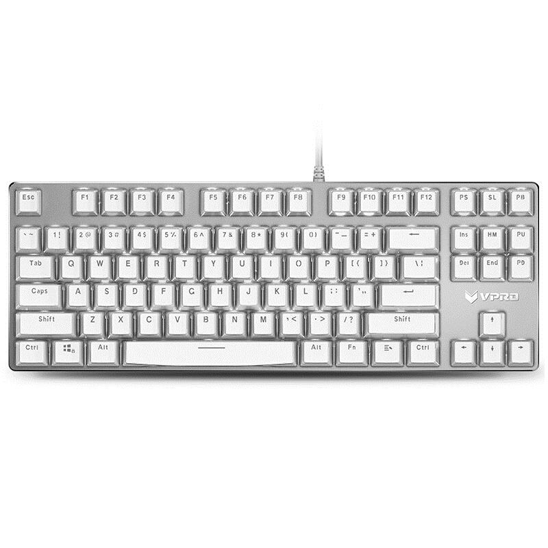 Rapoo V500S Ice Crystal 87 Key USB Wired White Backlit Mechanical Gaming Keyboard Brown Switch