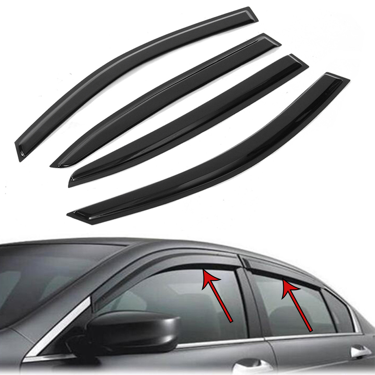 Buy Window Vent Visors Shield Rain Guards Sun Deflector For HONDA ACCORD 4DR 08-12