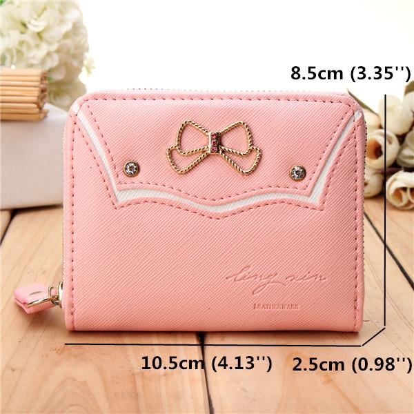 Women Candy Color Bowknot Short Wallet Girls Cute Zipper Purse Card Holder Coin Bags