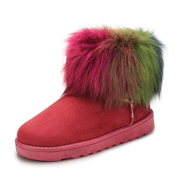 Women Snow Boots Colorful Flat Keep Warm Plush Cotton Slip-On Suede Short Boots