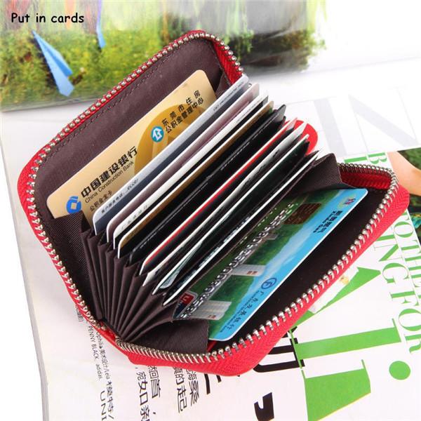Buy Women Zipper 11 Card Holder Genuine Leather Short Wallets Purse Coin Bags