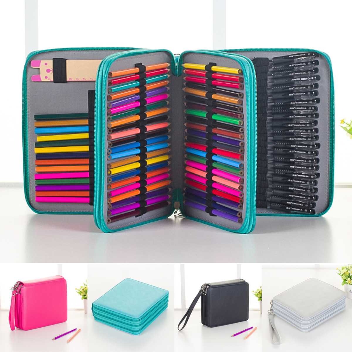 Buy 120 Slots Pencil Case Cosmetic Makeup Bag Storage Travel Zipper Pouch Student Stationery