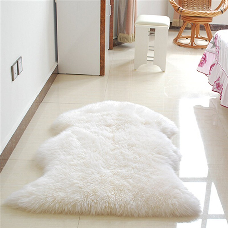 Douce shaggy salon tapis de sol couverture de chaise tapis for Tapis de fourrure blanc ikea