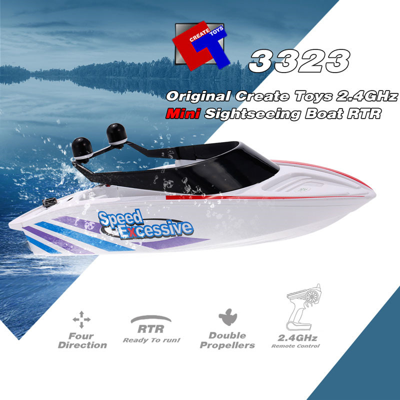 Flytec 3323 2.4G 4CH Mini Racing RC Boat Sightseeing Speedboat With Double Propellers Toys