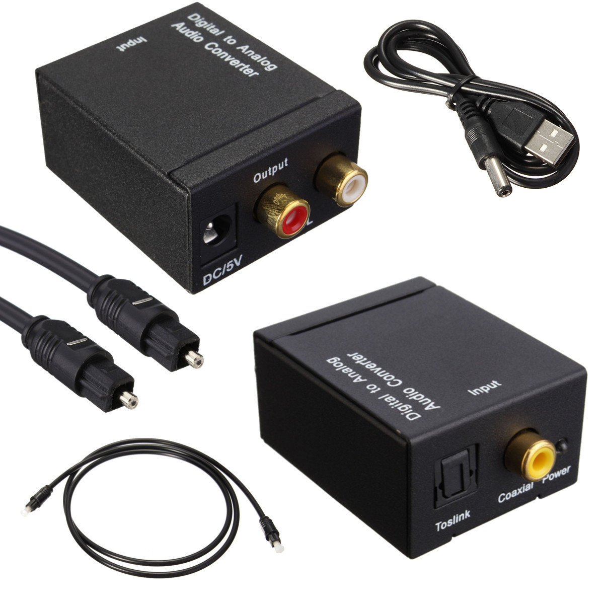 Digital Optical Coax Coaxial Toslink to Analog Audio