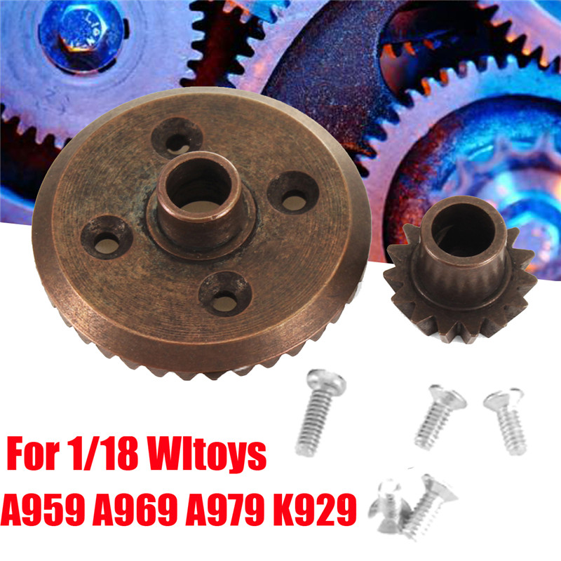 Black Ring Gear With Pinion Gear For 1/18 Wltoys A959 A969 A979 K929 RC Car Parts
