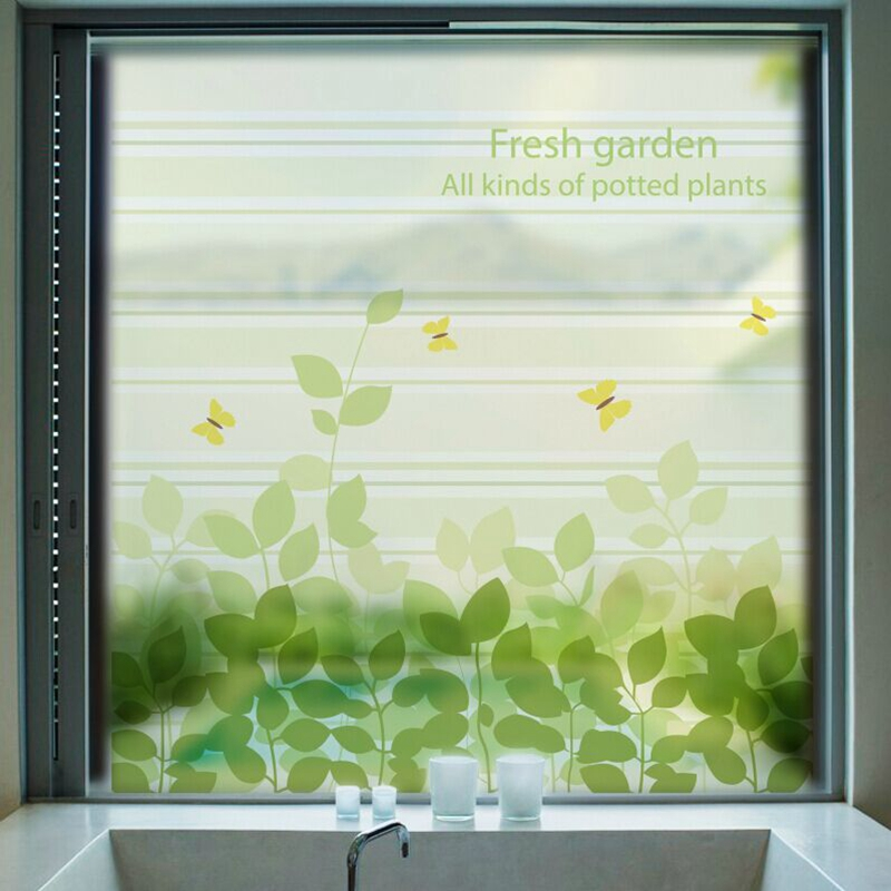 Green Frosted Opaque Glass Window Film Tree Privacy Glass Stickers Home Decor