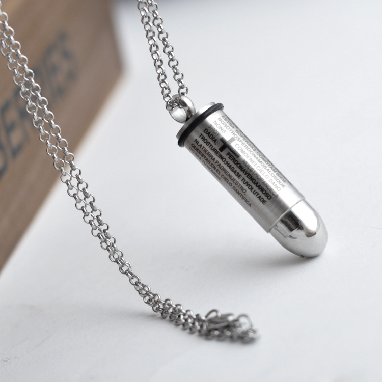 Buy Stainless Steel Cross Scripture Bullet Men Pendant Jewelry Clothing Accessories For Necklace