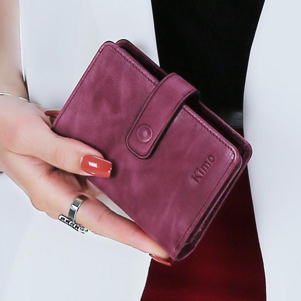 12 Card Slots Women Genuine Leather Minimalist Elegant Short Wallet Card Holder Purse