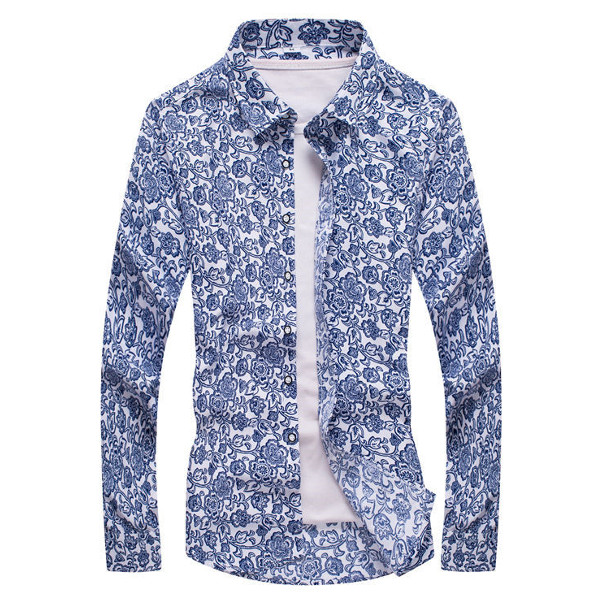 Buy Mens Casual Floral Printing Shirts Turndown Collar Slim Fit Long Sleeve