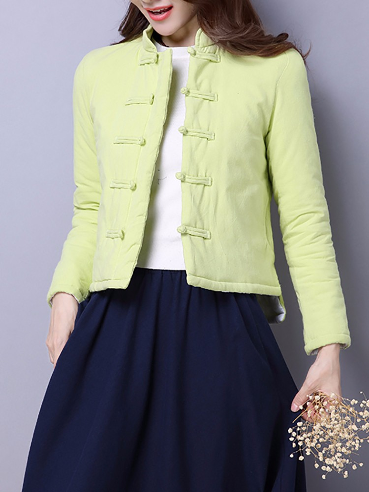 Chinese Style Vintage Solid Thicken Women Short Cotton Coat
