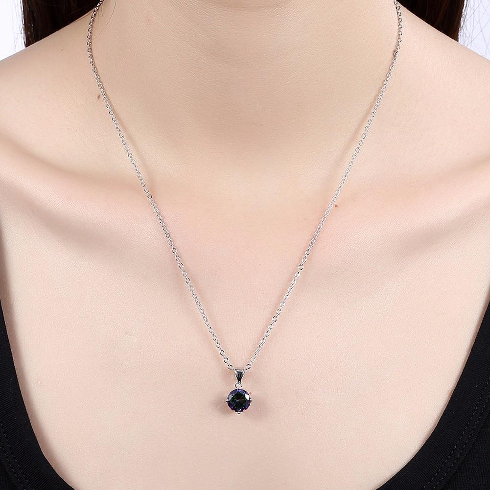 Simple Zircon Round Pendant Necklace Gift For Women