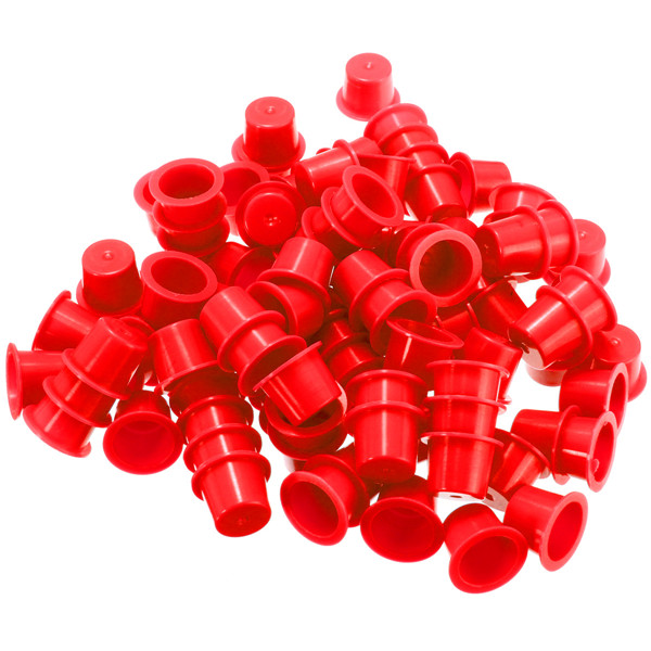 100pcs Disposable Professional Plastic Tattoo Ink Cups Caps Cup Supplies Red 3 Sizes