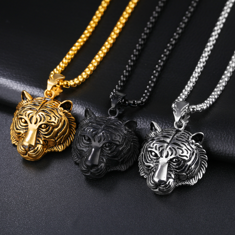 Men S Punk Gold Black Tiger Stainless Steel Long Necklace