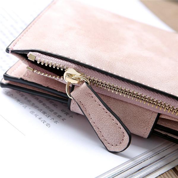 Women Matte Hasp Short Wallets Girls Two Fold Purse Card Holder Coin Bags