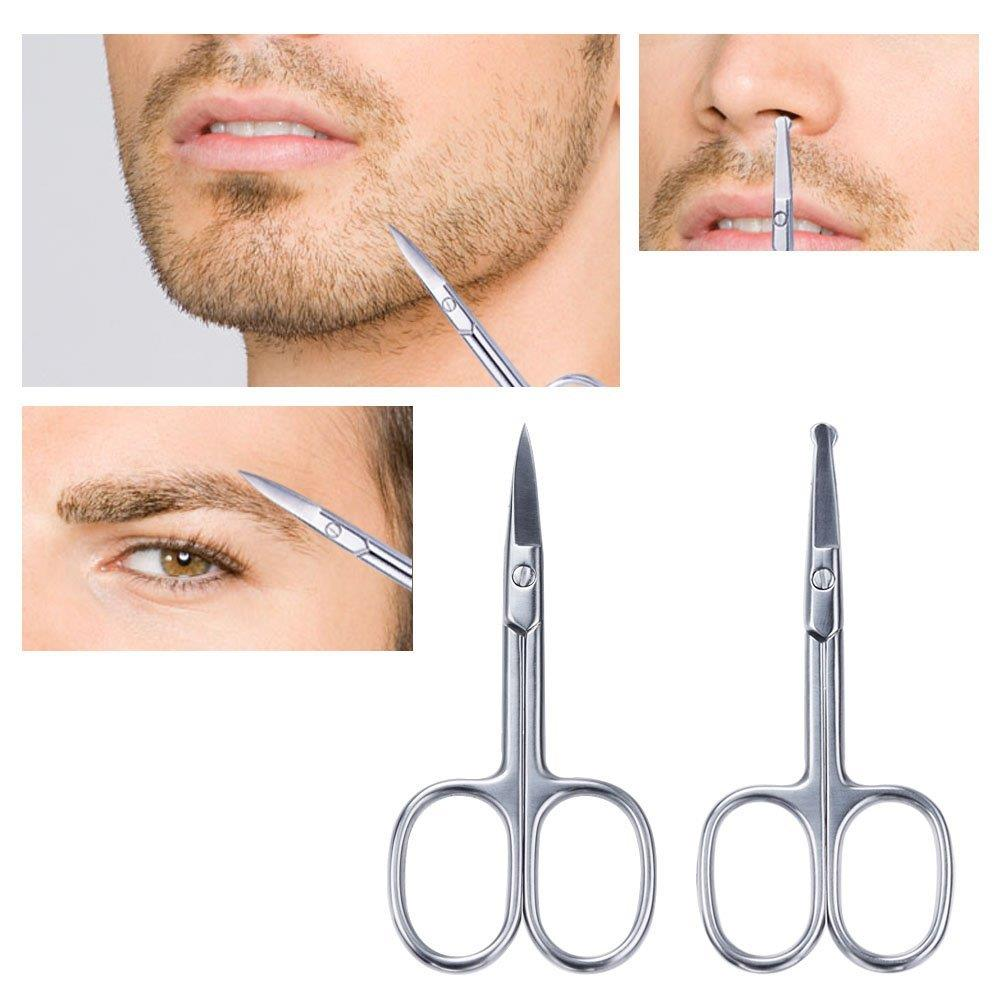 yafam 2pcs multipurpose beard scissors kit mustache trimmer eyebrow stainless steel safety. Black Bedroom Furniture Sets. Home Design Ideas