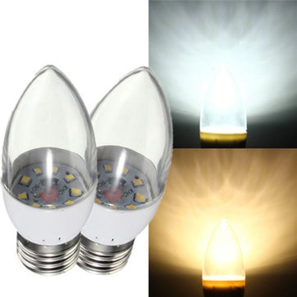 E27 3W 9 SMD 2835 LED Candle Light Bulb Clear Glass War