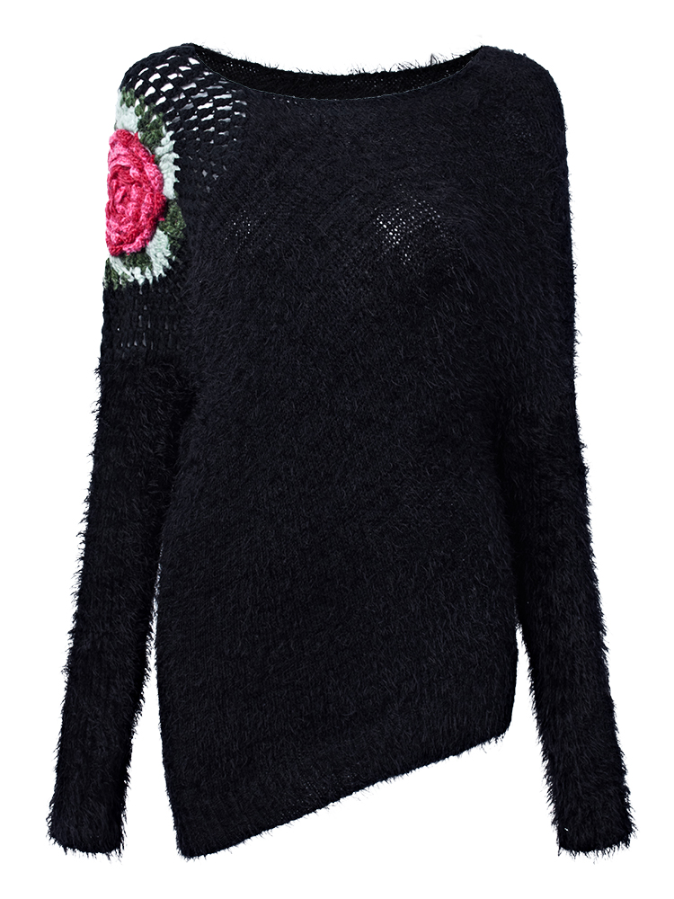 Casual Women Crochet Hollow Plush Rose Irregular Knitted Sweaters