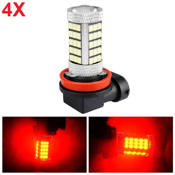4pcs H11 2835 SMD Red LED Fog Light Daytime Running Light Bulb with Lens Aluminum Housing