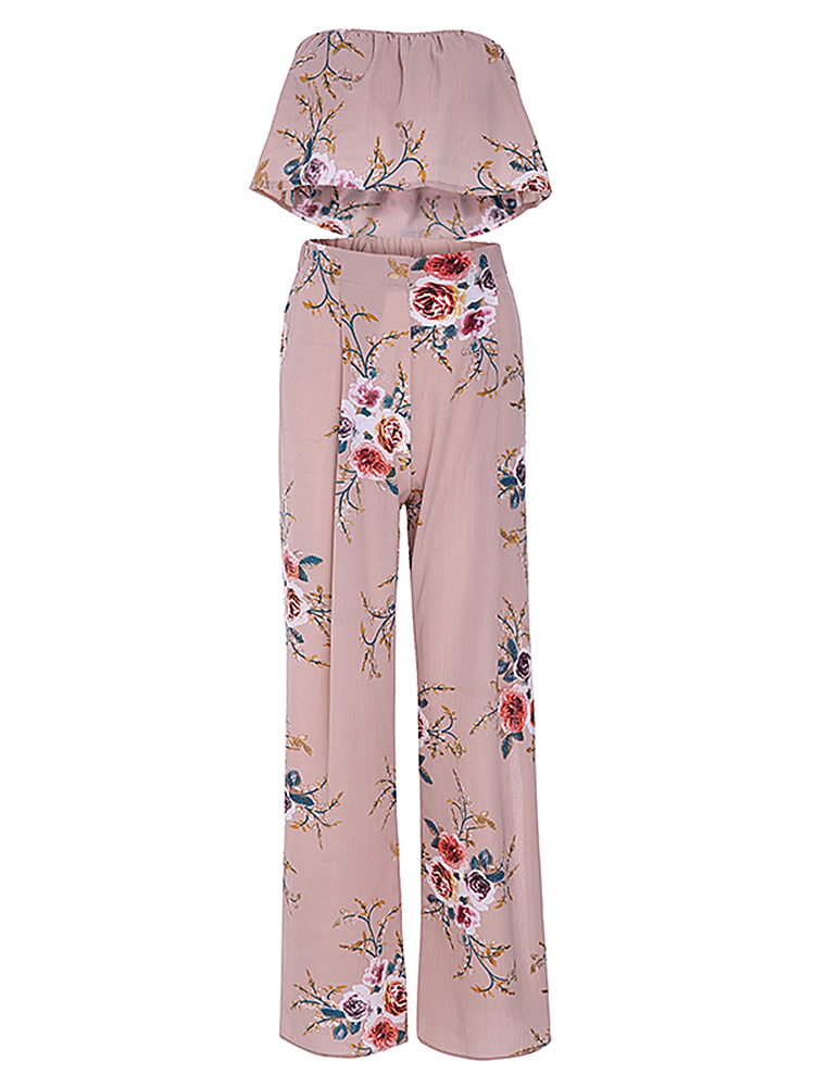 Sexy Women Floral Printed Strapless Crop Top Side Slit Wide Leg Pants Set