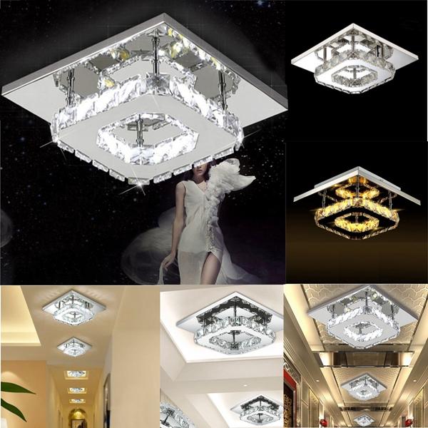 Buy Modern Square Crystal LED Ceiling Light Fixture Pendant Lamp Chandelier Home Decor