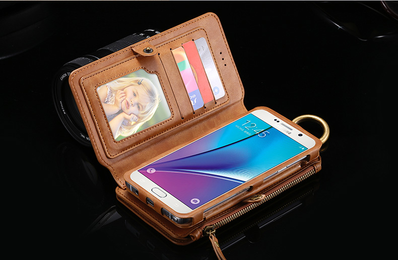 Floveme Universal Retro PU Separable Wallet Case Cover For Samsung Galaxy Note 5/S6 Edge Plus